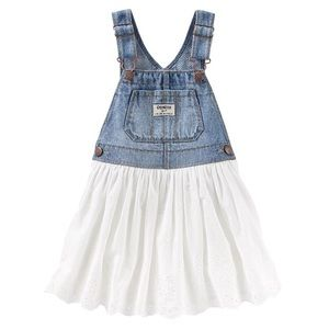 OshKosh Baby White Eyelet Denim Overall Dress